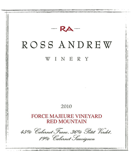 2010 Force Majeure Vineyard Red Wine - Ross Andrew Winery